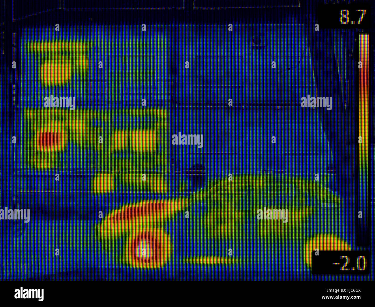 Thermal Image of two Houses - Stock Image
