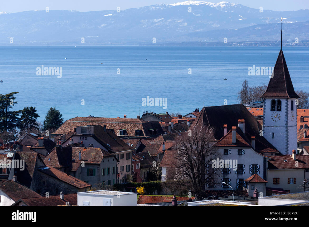 View on Lac Léman from Lutry heights, Vaud, Switzerland - Stock Image