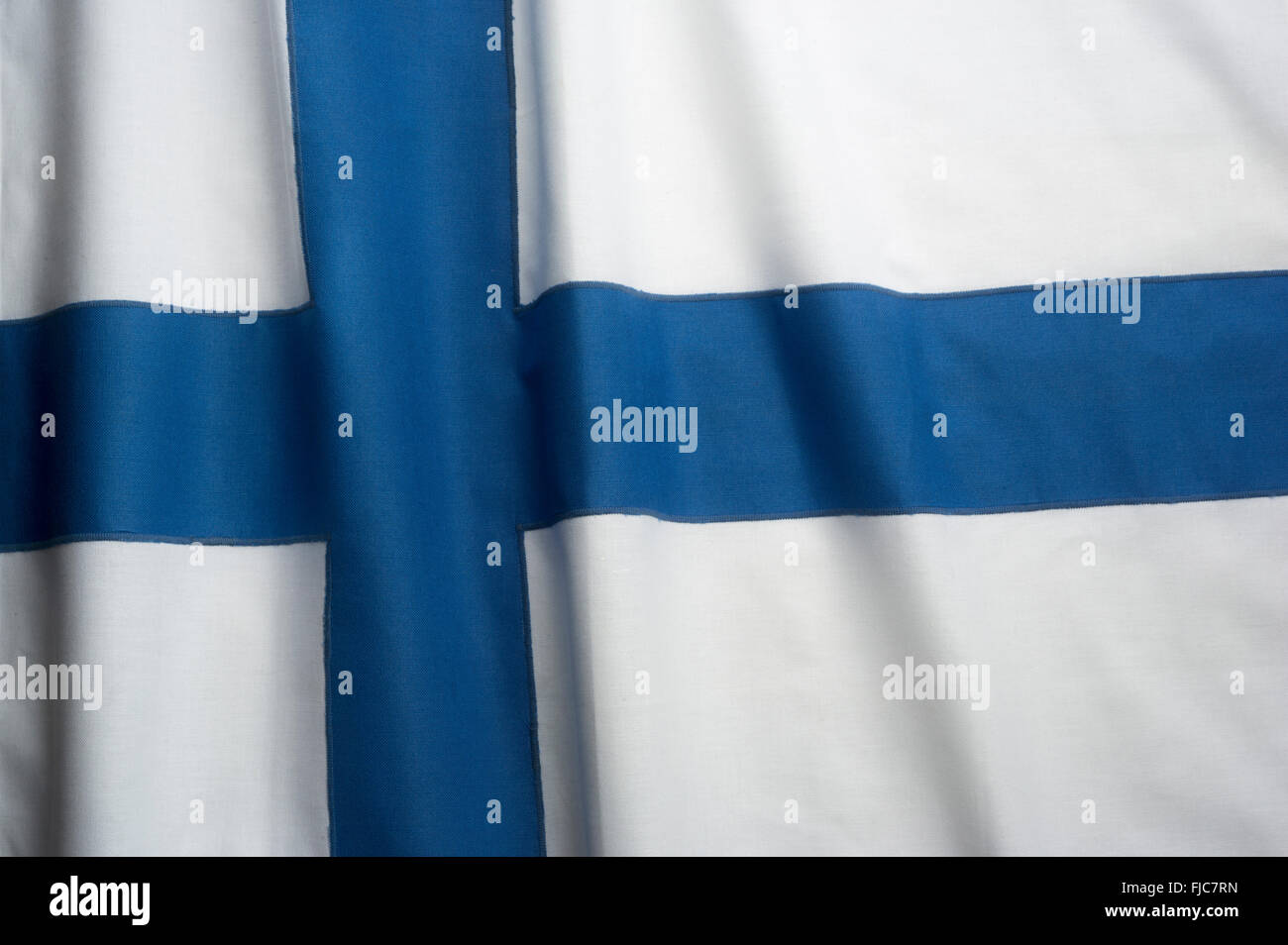FINNISH FLAG MADE OF STITCHED COTTON BUNTING Stock Photo