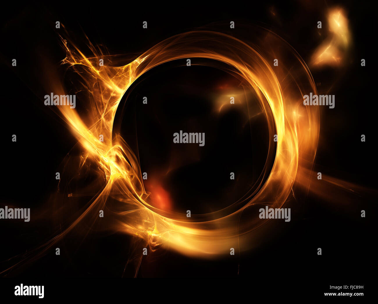 Fire ring. Abstract fiery circle on a black background - Stock Image