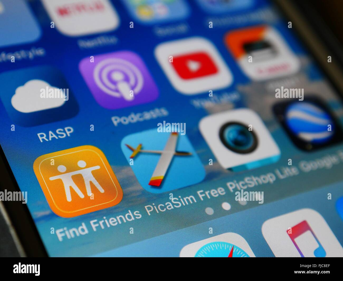 Apple Iphone screen sowing apps - Stock Image