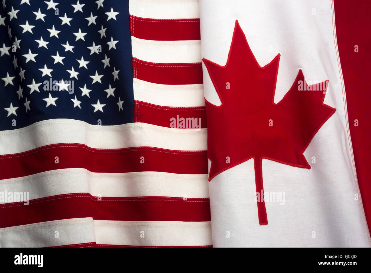 cfbe95e2ac2 FLAGS OF UNITED STATES OF AMERICA AND CANADA MADE OF STITCHED COTTON  BUNTING - Stock Image