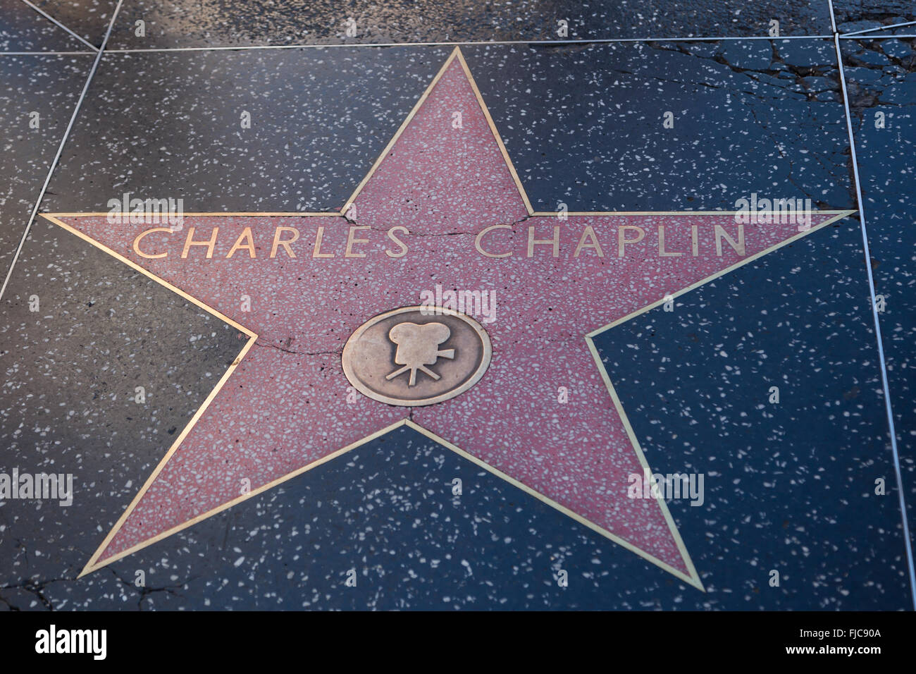 HOLLYWOOD, CALIFORNIA - February 8 2015: Charles Caplin's Hollywood Walk of Fame star on February 8, 2015 in - Stock Image