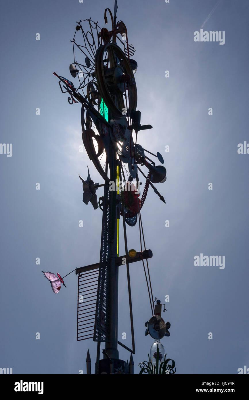 Mobile, kinetic art sculpture of Charles Morgan Vevey-Marché, Vevey, Vaud, Switzerland - Stock Image