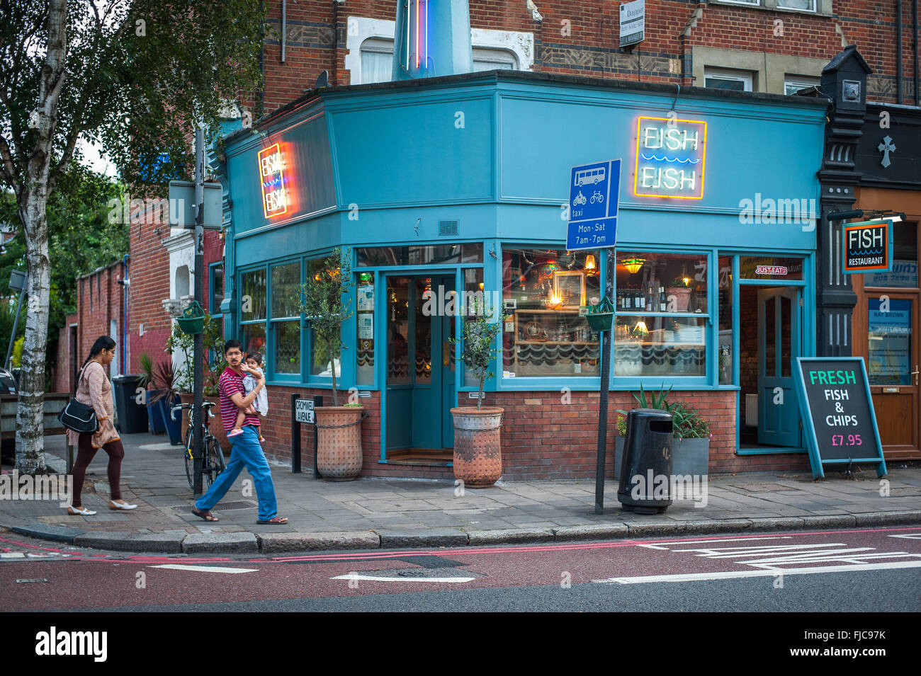 Upmarket Fish & Chips restaurant, Highgate, north London - Stock Image