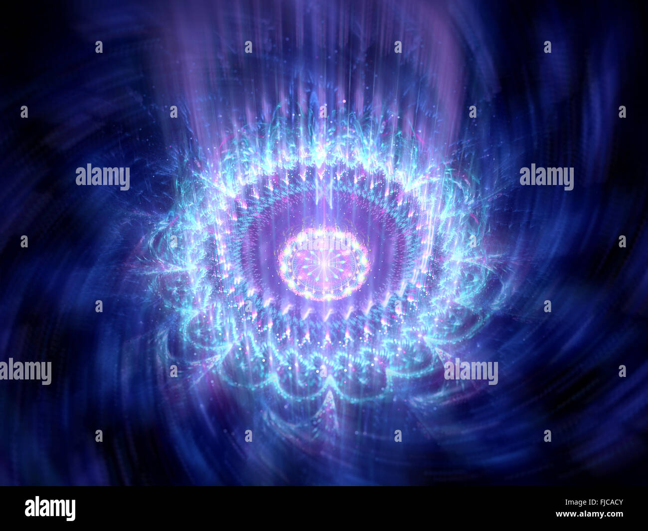 Blue glowing rotating mandala in space, computer generated abstract background - Stock Image