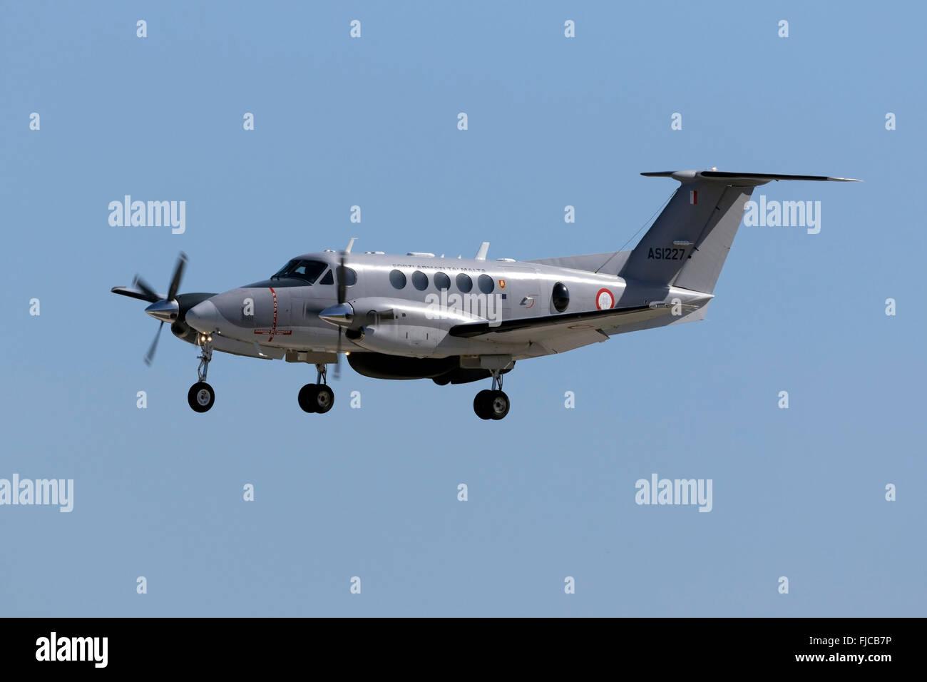 Maltese Armed Force Kingair 200 maritime patrol aircraft. - Stock Image