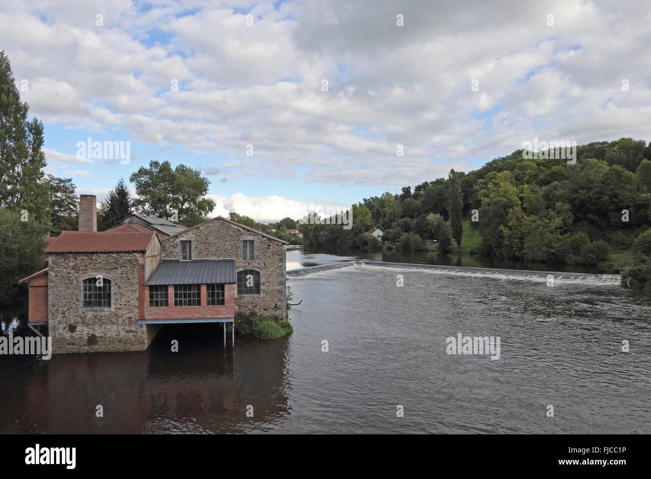 Moulin du Pont Notre Dame, watermill, Aix-sur-Vienne, France - Stock Image