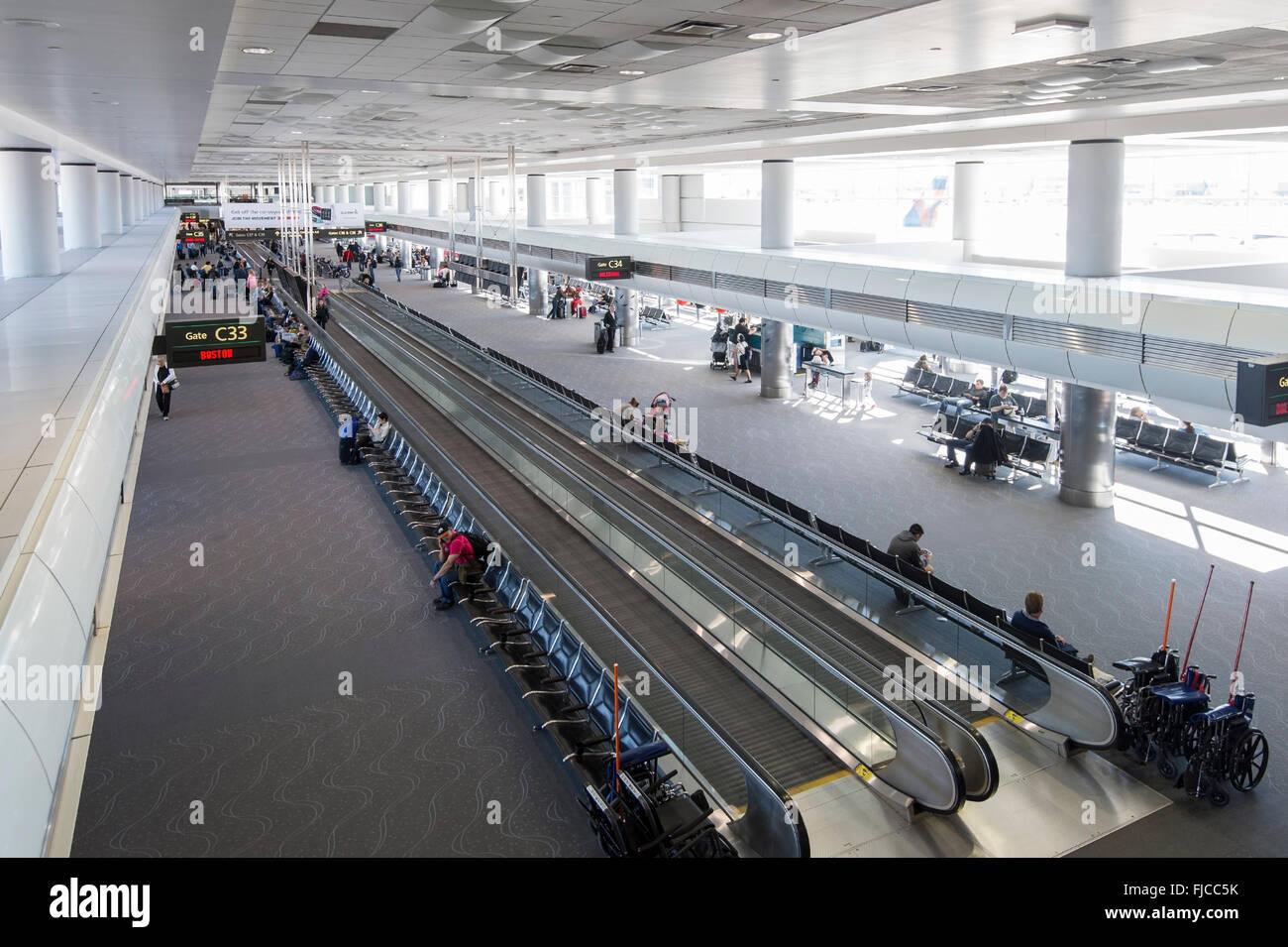 Moving Sidewalk, Denver Airport, USA - Stock Image