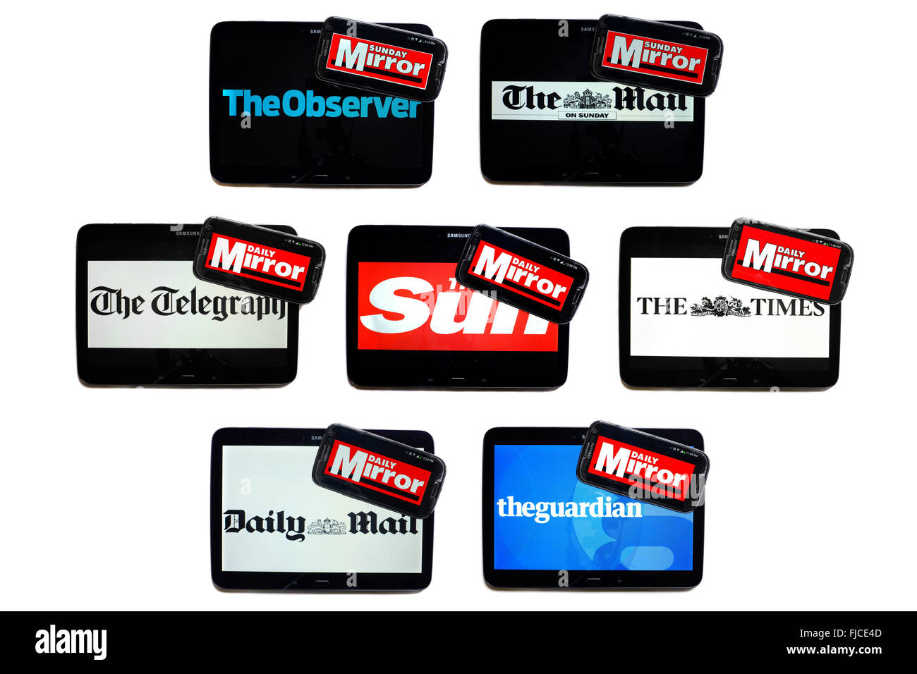the daily mirror newspaper logo on smartphone screens surrounded by