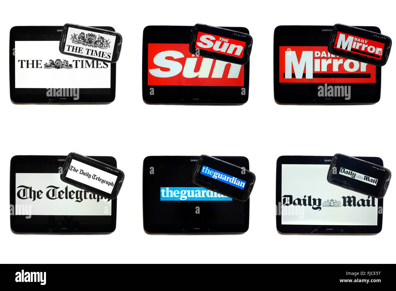 British newspaper logos on tablet and smartphone screens photographed against a white background. Stock Photo
