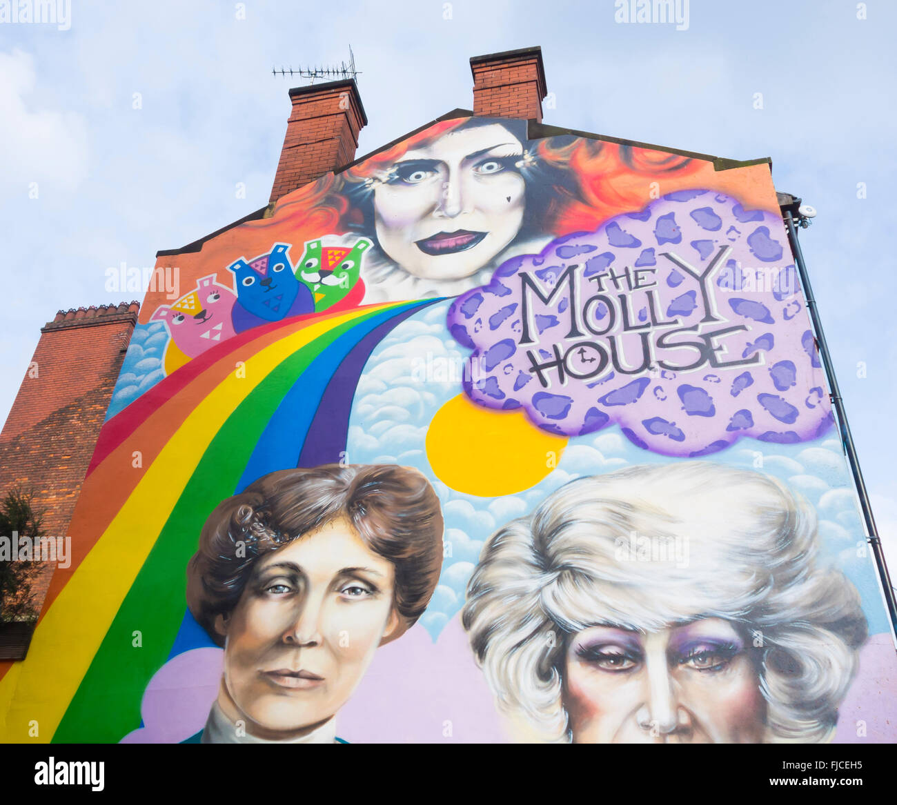Wall mural on The Molly House tea room and bar on Richmond street in Manchester`s Gay village. Manchester, England, - Stock Image