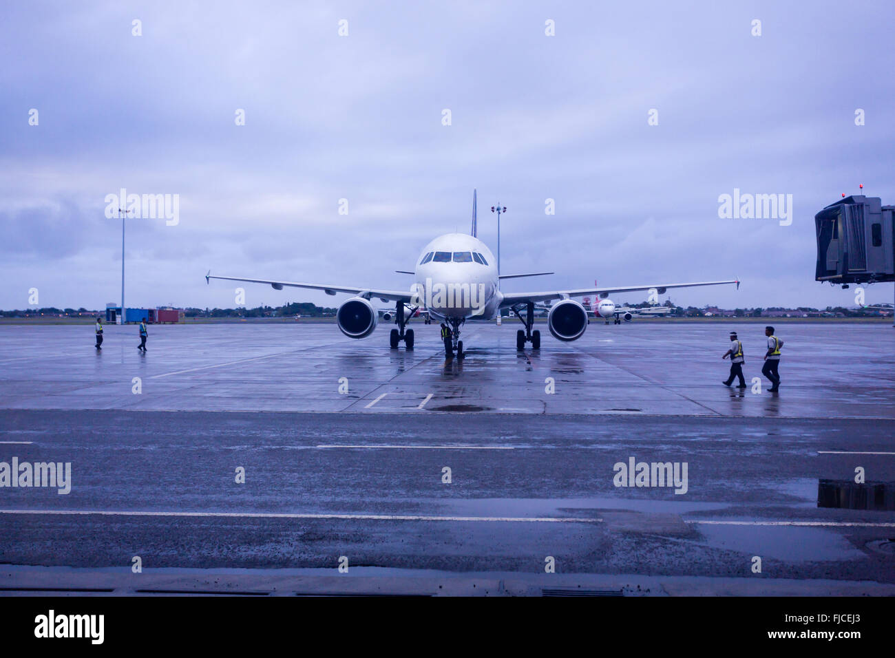 Close-up of  jet airplane at gate of airport - Stock Image