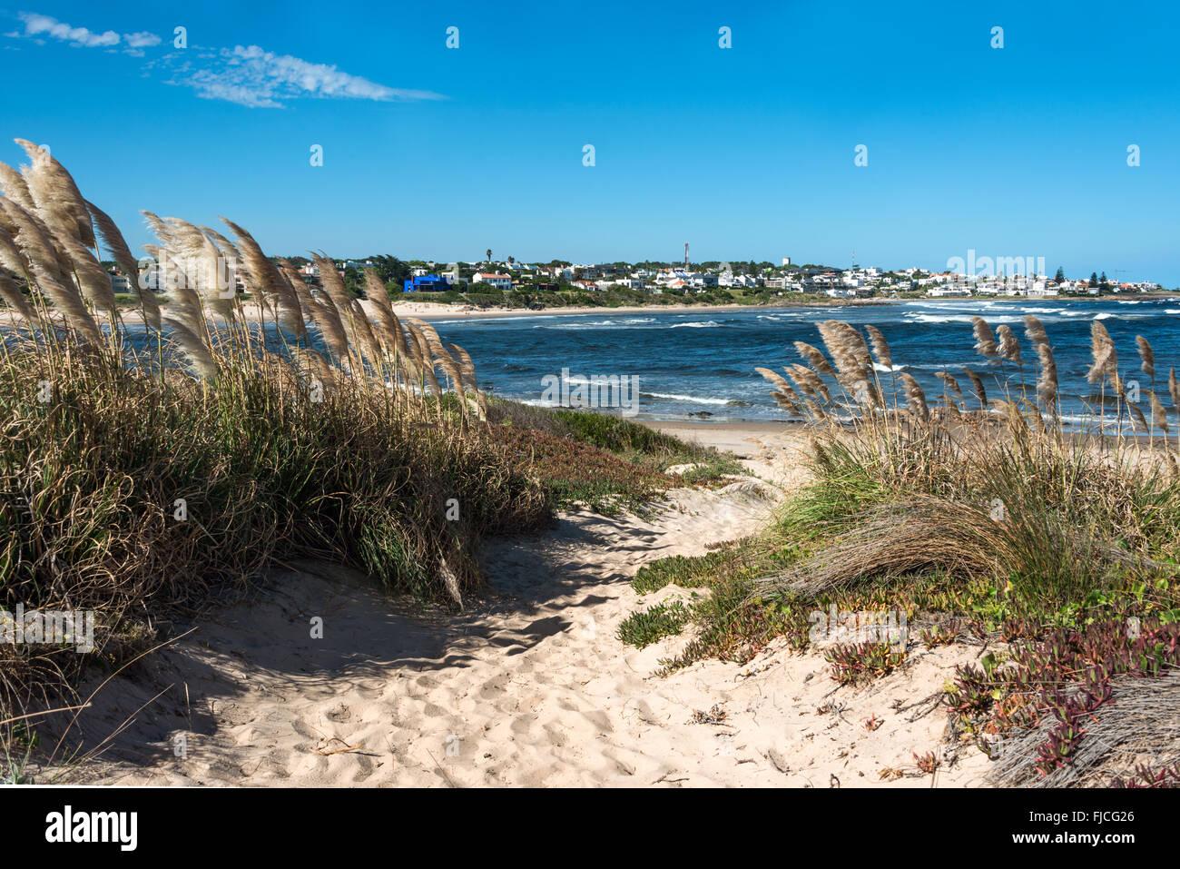 Beach in La Barra, a picturesque famous popular seaside holiday destination in Punta del Este, Uruguay - Stock Image
