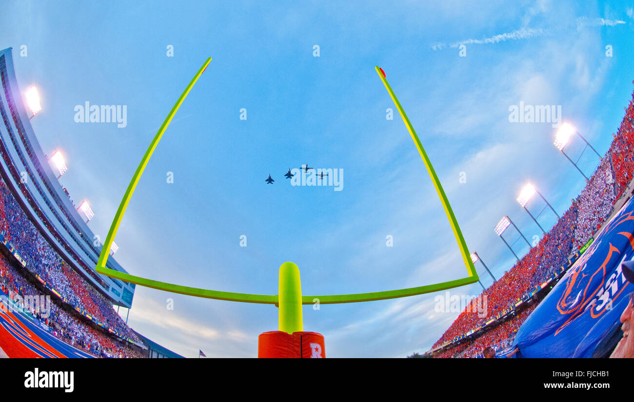Boise State Football Game at Albertsons Stadium. Airforce A10 Wart Hogs and F18's jets flying over goal posts, - Stock Image