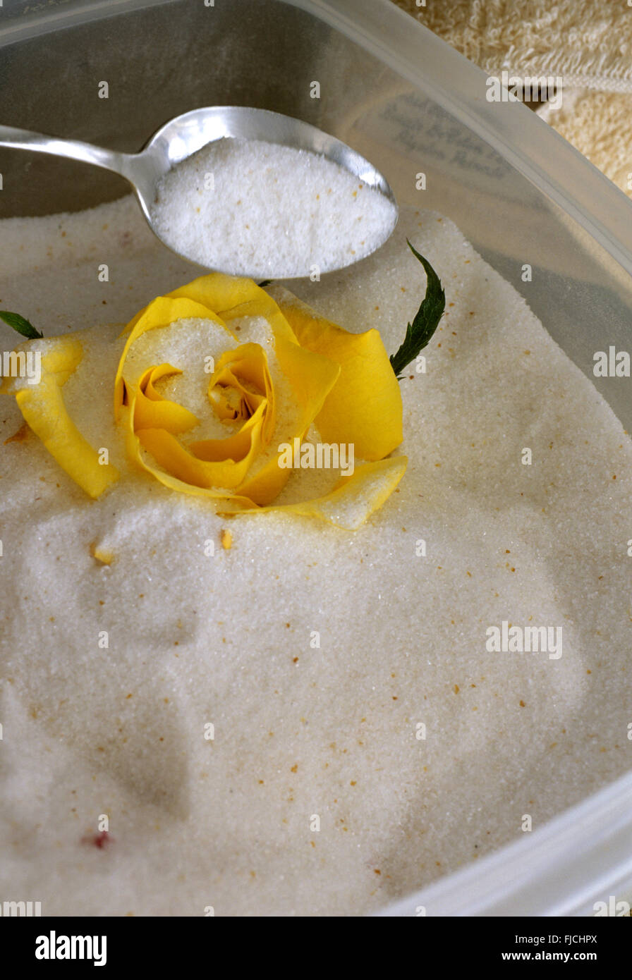 Drying a rose with silica gel, gently pouring gel on rose in sealable container - Stock Image
