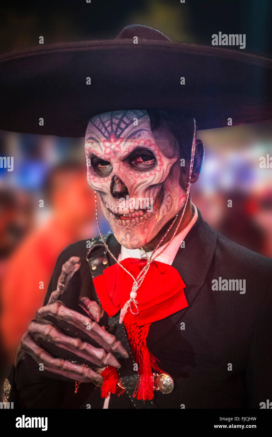 Day of The Dead, celebration participant honoring the dead, Cabo San Lucas, Mexico - Stock Image