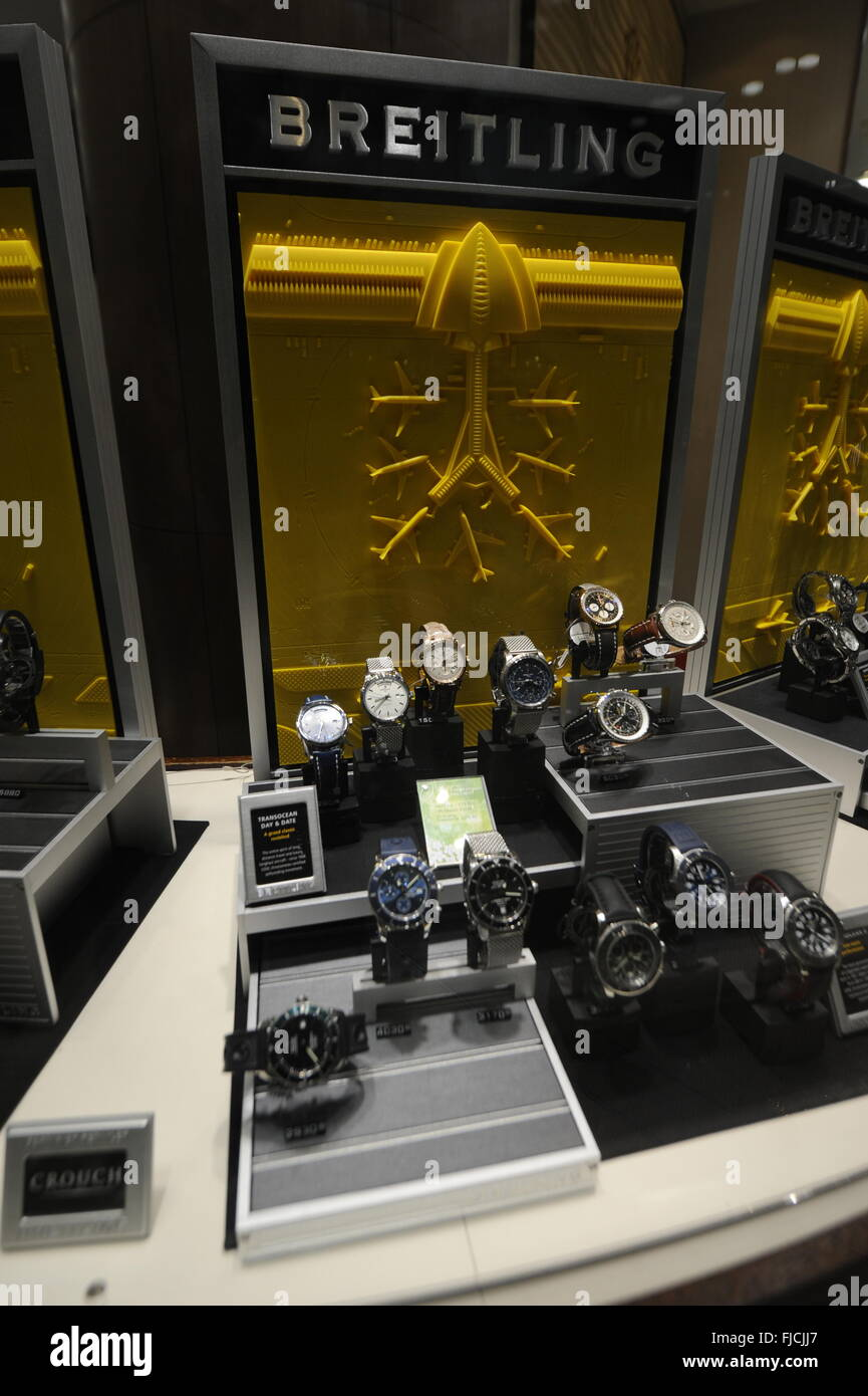Breitling watches on display in jewelery shop in Cardiff st Davids centre - United Kingdom - Stock Image