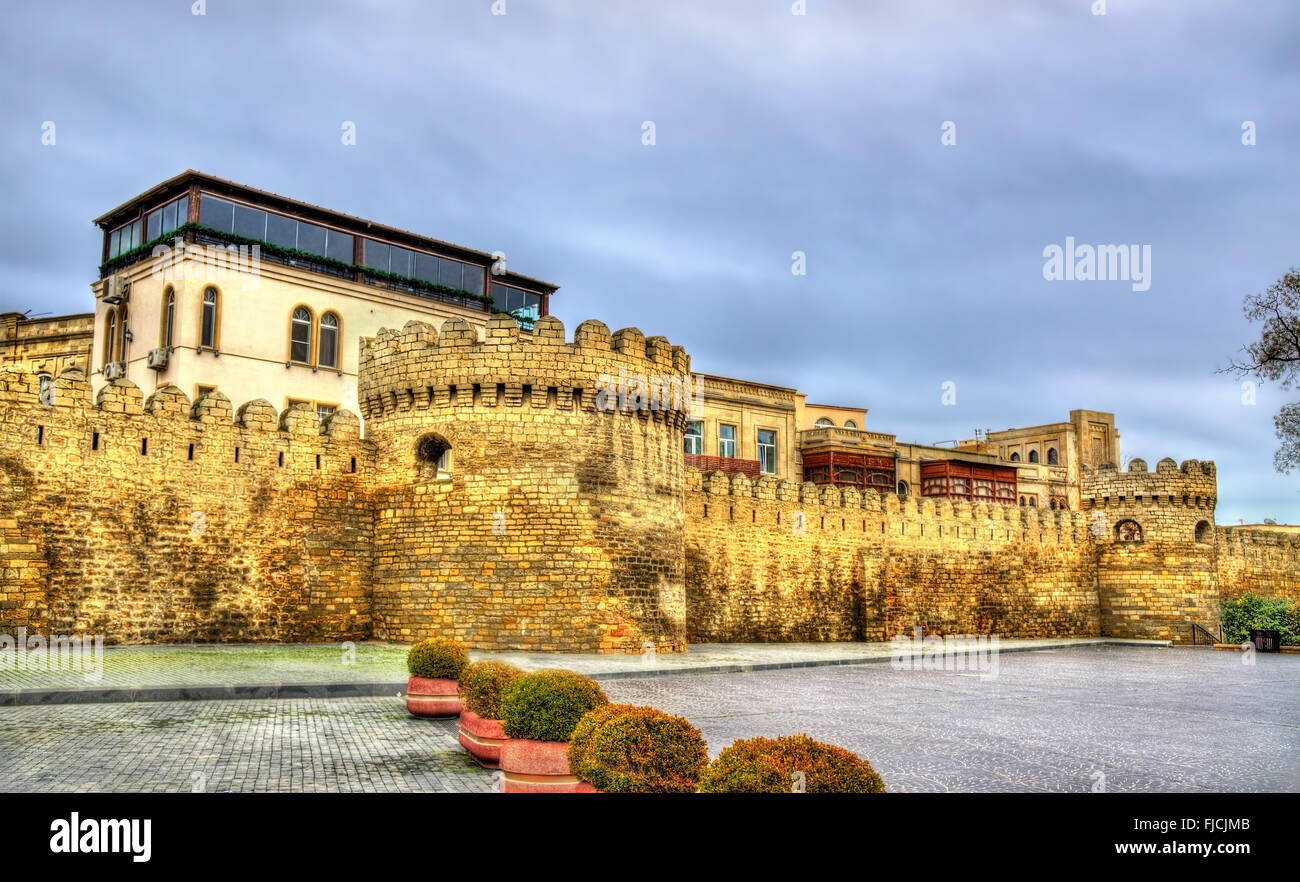 Ancient fortress wall in Baku old town - Stock Image