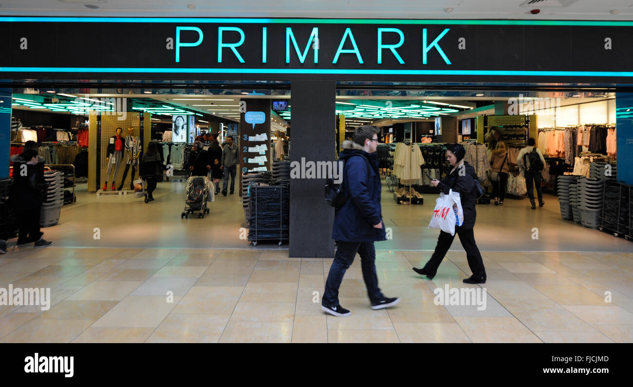 Primark Retail Store Entrance in Cardiff Wales UK. - Stock Image