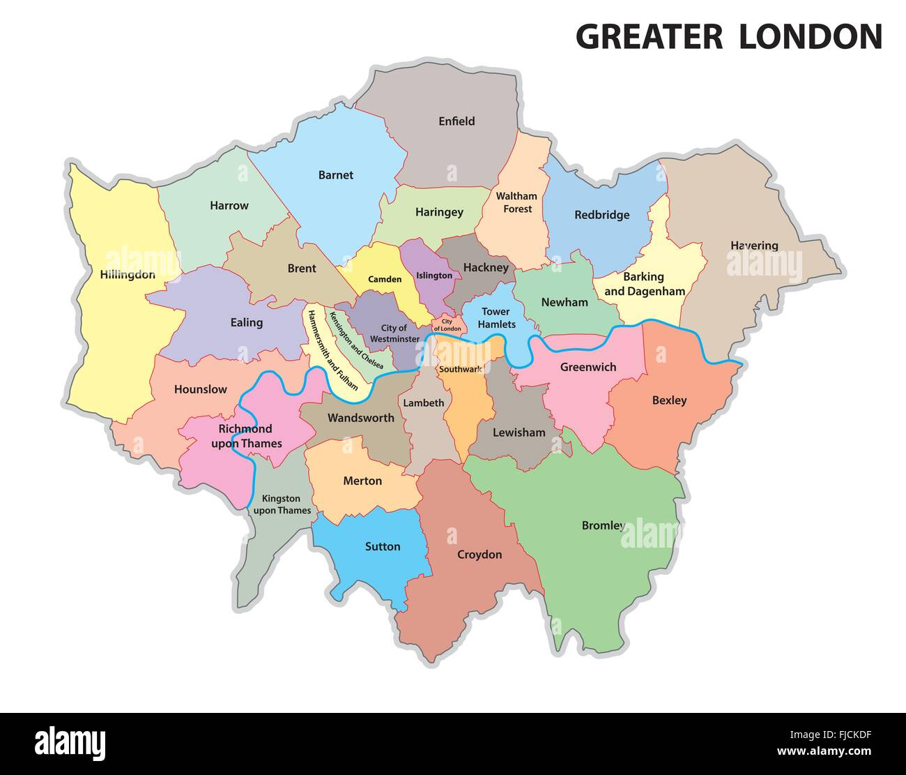 greater london administrative map Stock Vector Art & Illustration