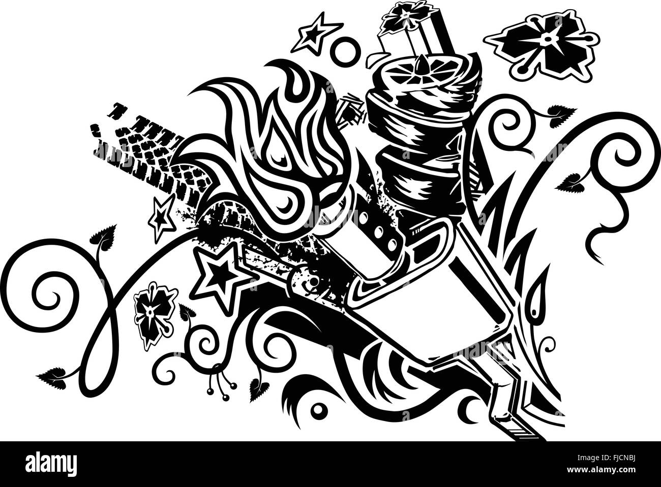 An eclectic tattoo-like graphic element featuring a car muffler as well as assorted abstract elements. - Stock Vector