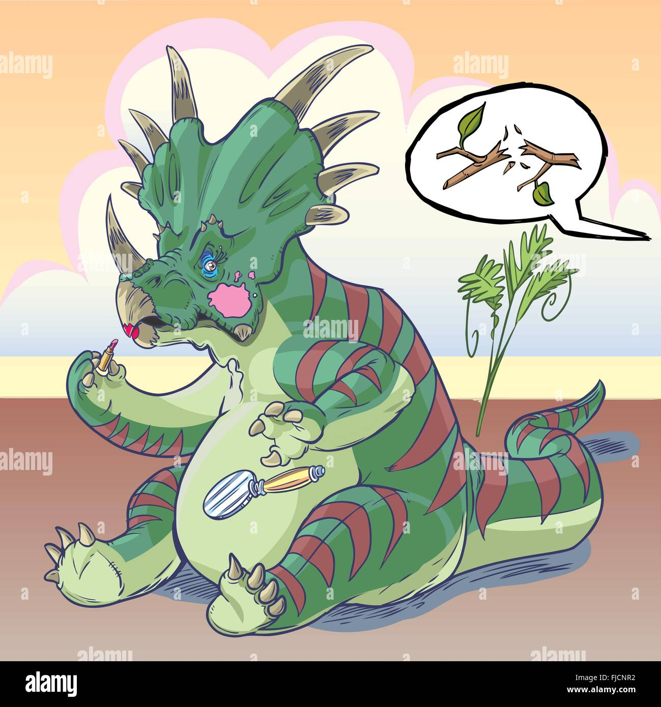 A self-conscious Styracosaurus dinosaur is applying makeup, and is suddenly startled by a twig snapping behind him. - Stock Vector