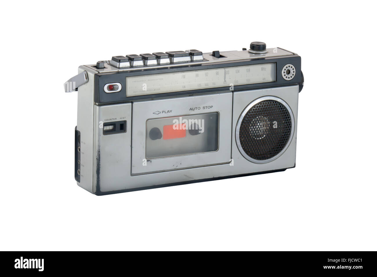 old and vintage radio on white background Stock Photo