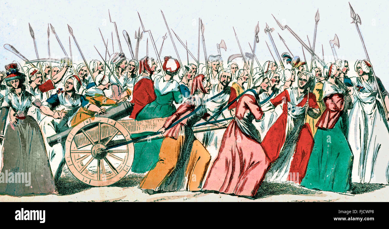 The March on Versailles, also known as The October March, The October Days, or simply The Women's March on Versailles, - Stock Image