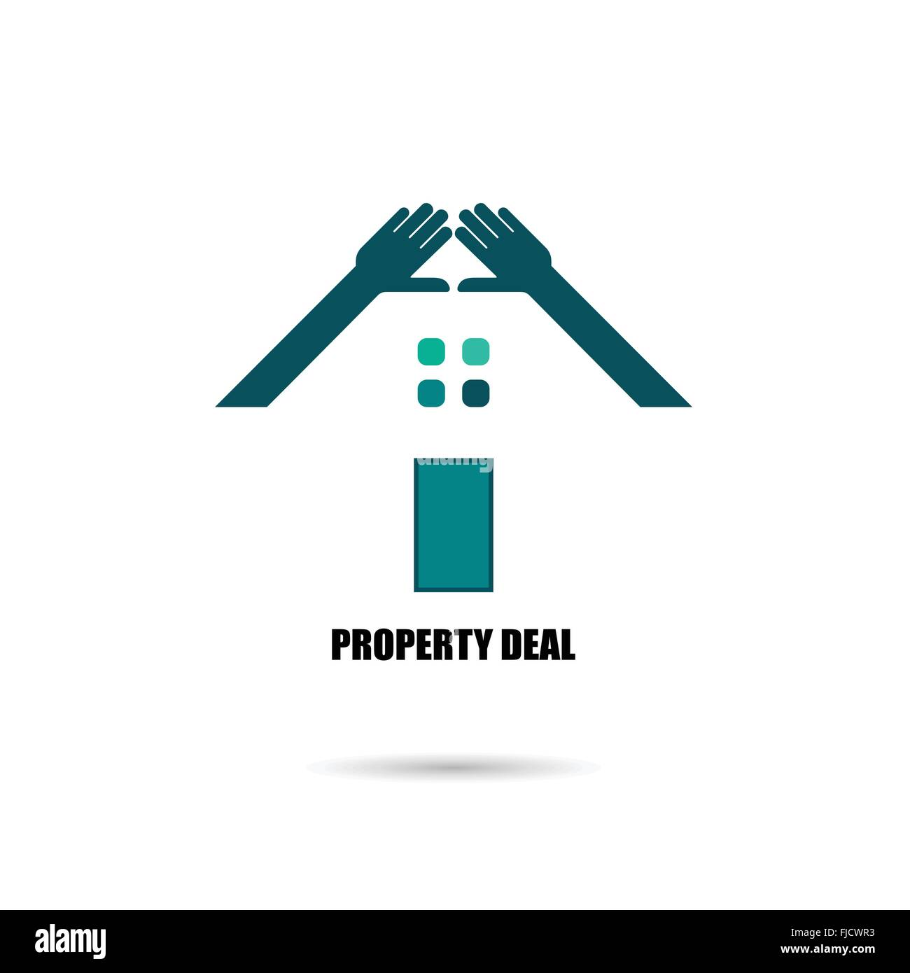 Hand and real estate icons and design elements.Colorful real estate, city and skyline icons. Vector illustrations - Stock Vector