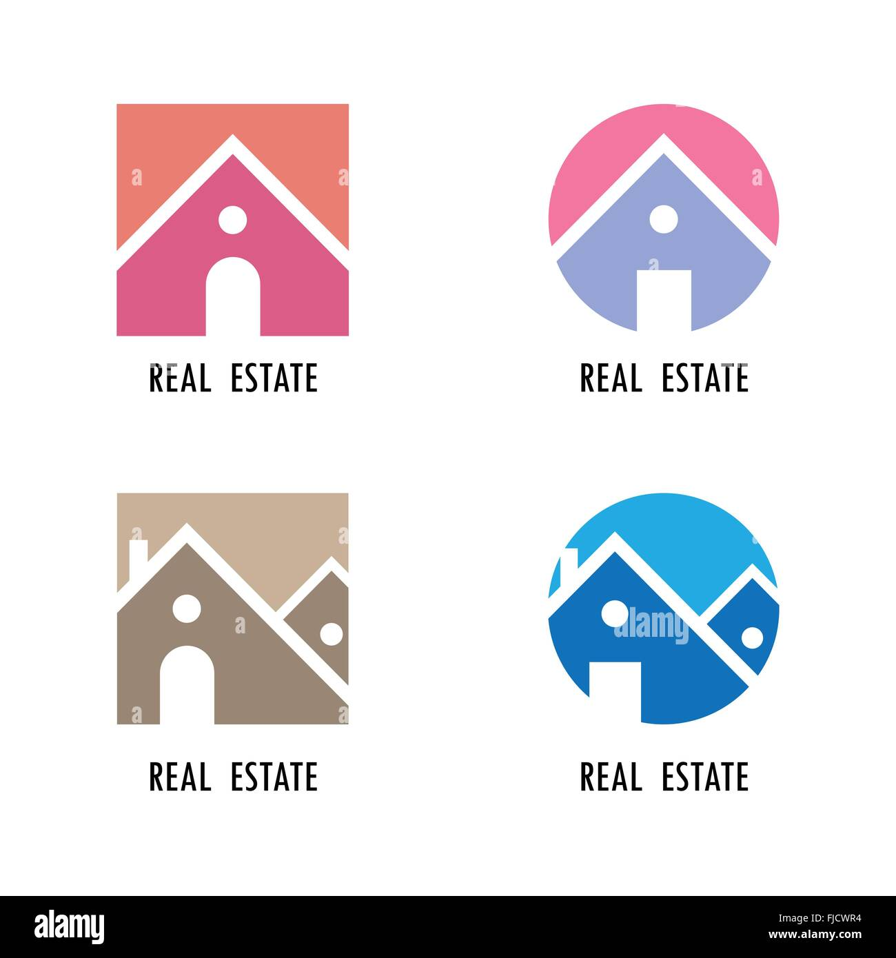 Real estate icons and design elements.Colorful real estate, city and skyline icons.Vector illustrations - Stock Vector