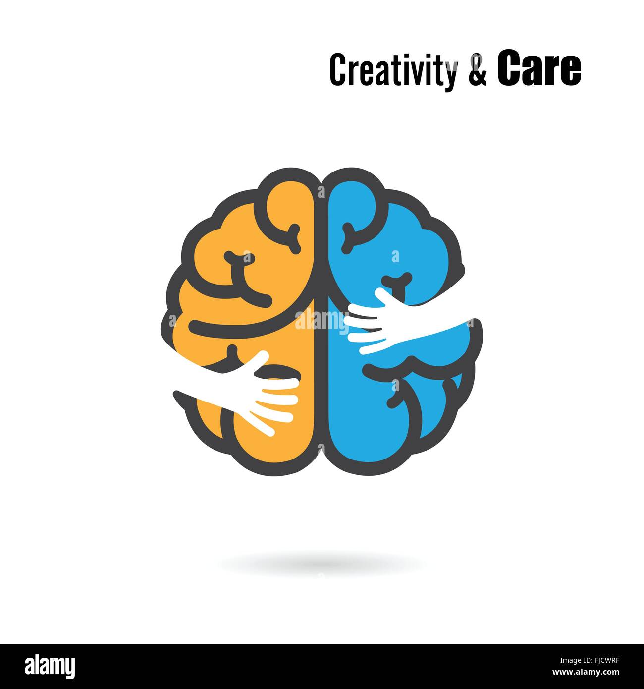 Creative Brain Logo Design Vector Template With Small HandEducation And Business Logotype ConceptVector Illustration