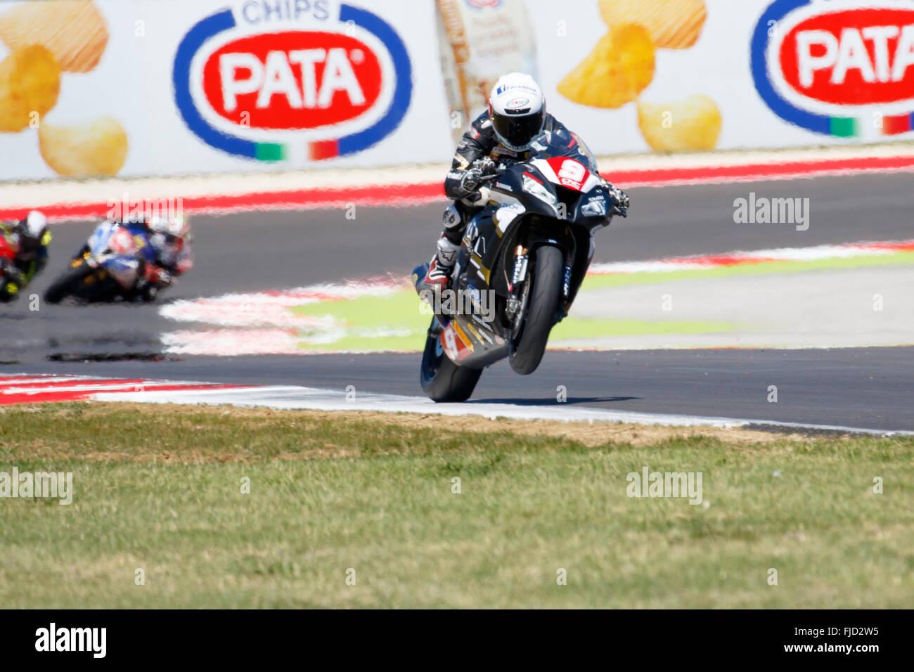 Misano Adriatico, Italy - June 21, 2015: Kawasaki ZX-10R of Clasitaly Team, driven by CAVALLI Francesco Stock Photo
