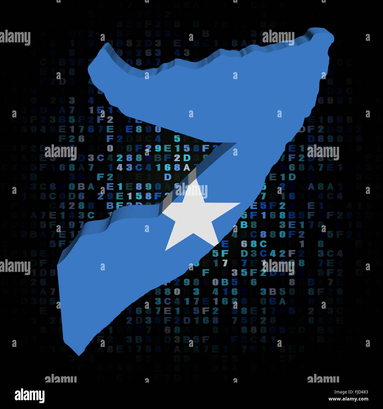Somalia map flag on hex code illustration Stock Photo