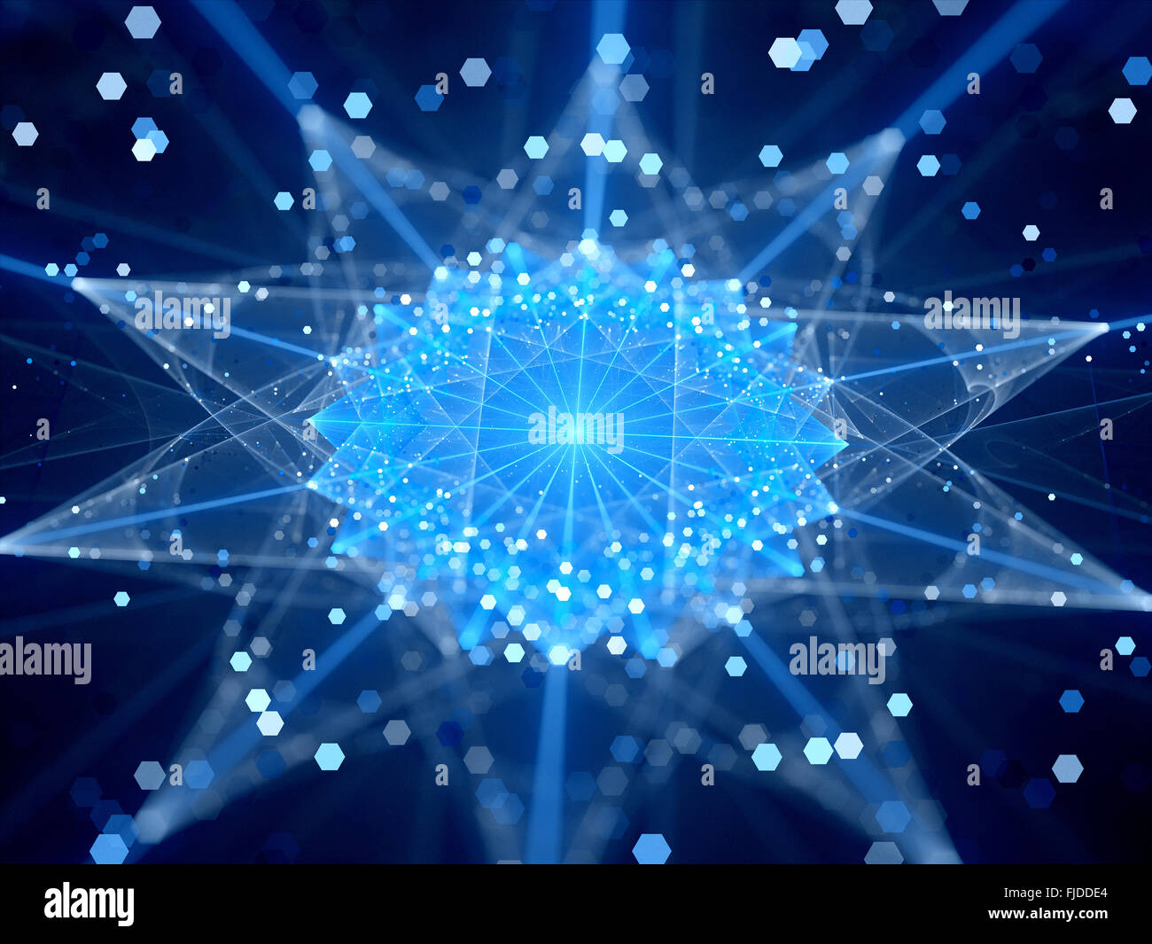 Blue glowing connections in cyberspace, computer generated abstract background - Stock Image