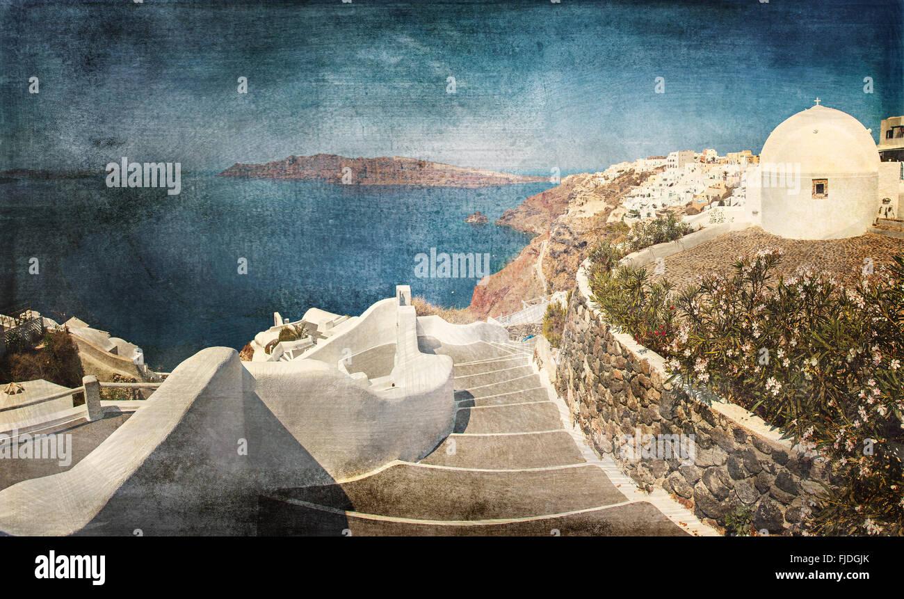 Panorama image of beautiful Santorini island in Greece. Vintage paper styled. - Stock Image
