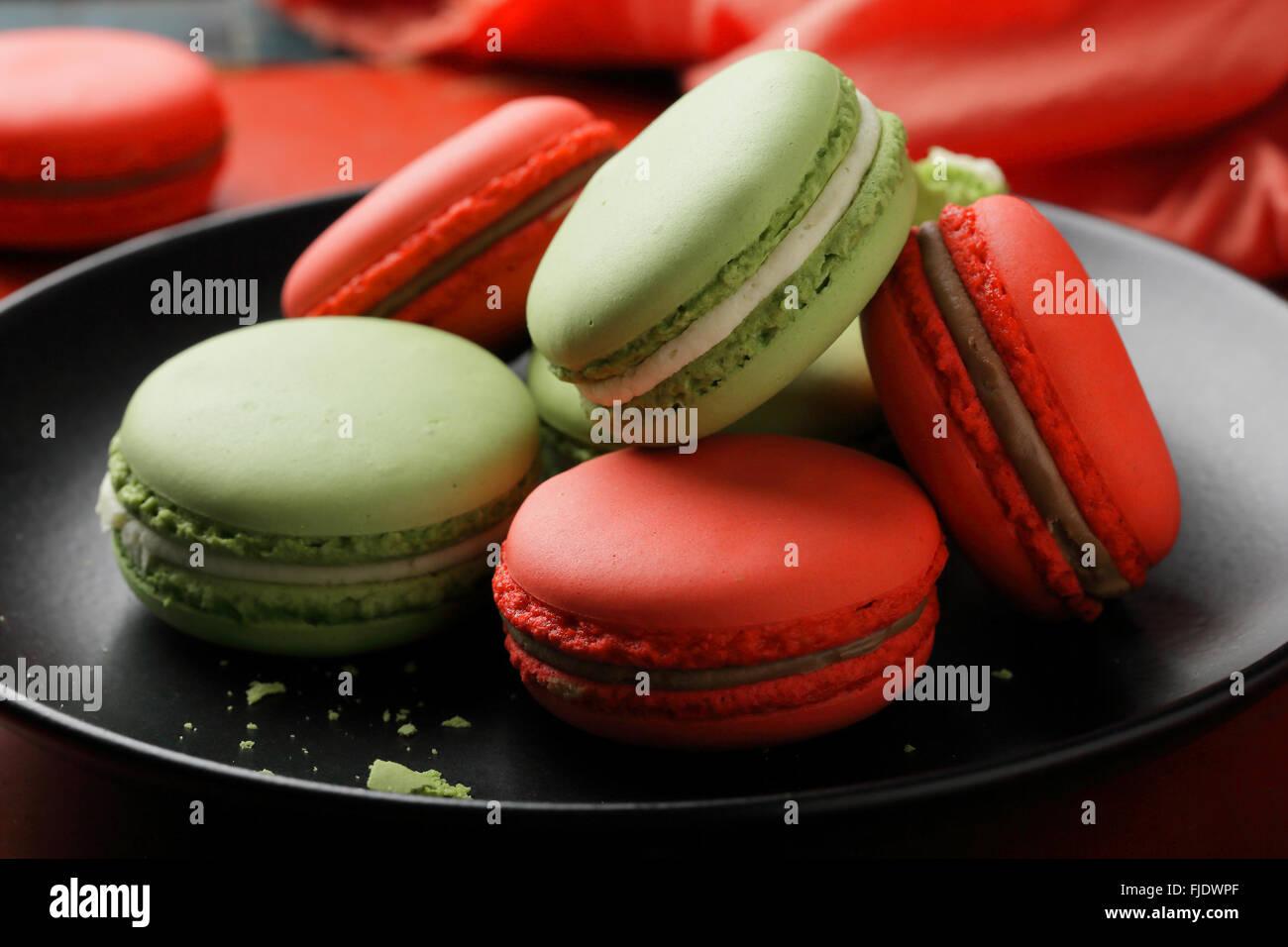 french macaroons closeup, food - Stock Image