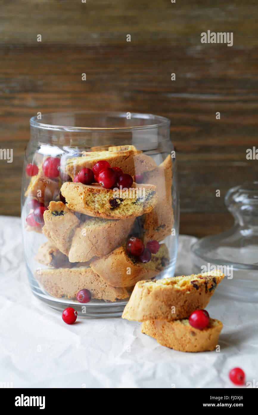 Cranberry biscotti in jar, food - Stock Image