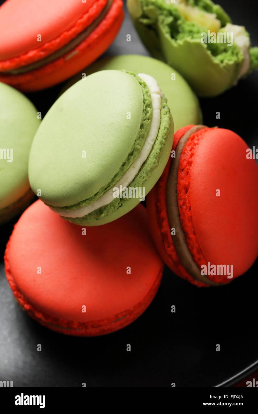 french sweet macaroons closeup, food - Stock Image