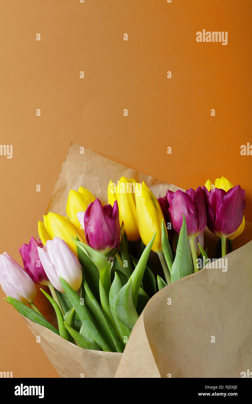 vivid spring bouquet, flowers - Stock Image