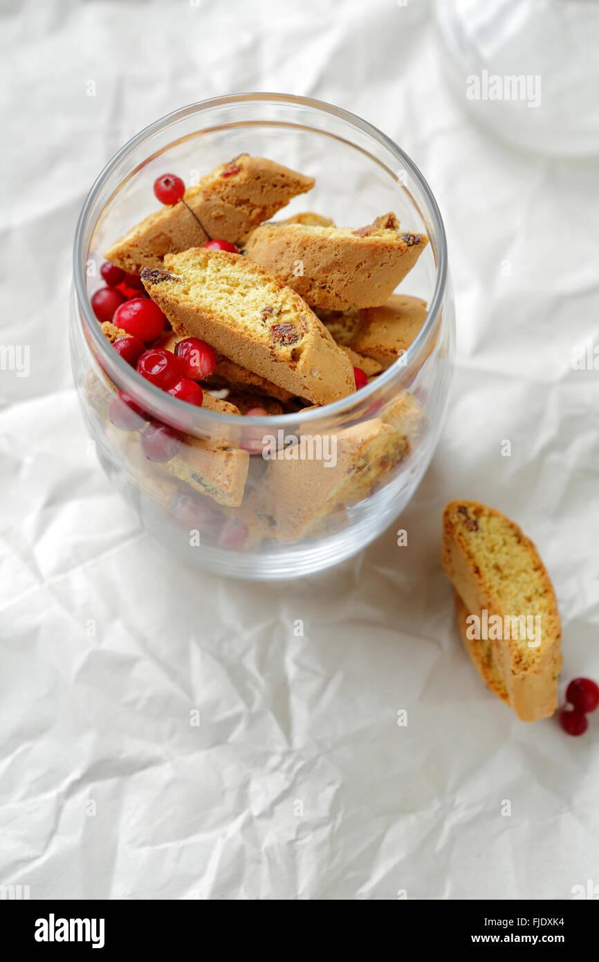 homemade christmas cookies in glass jar - Stock Image