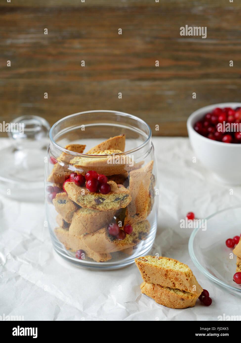 homemade biscotti cookies in jar, food closeup - Stock Image