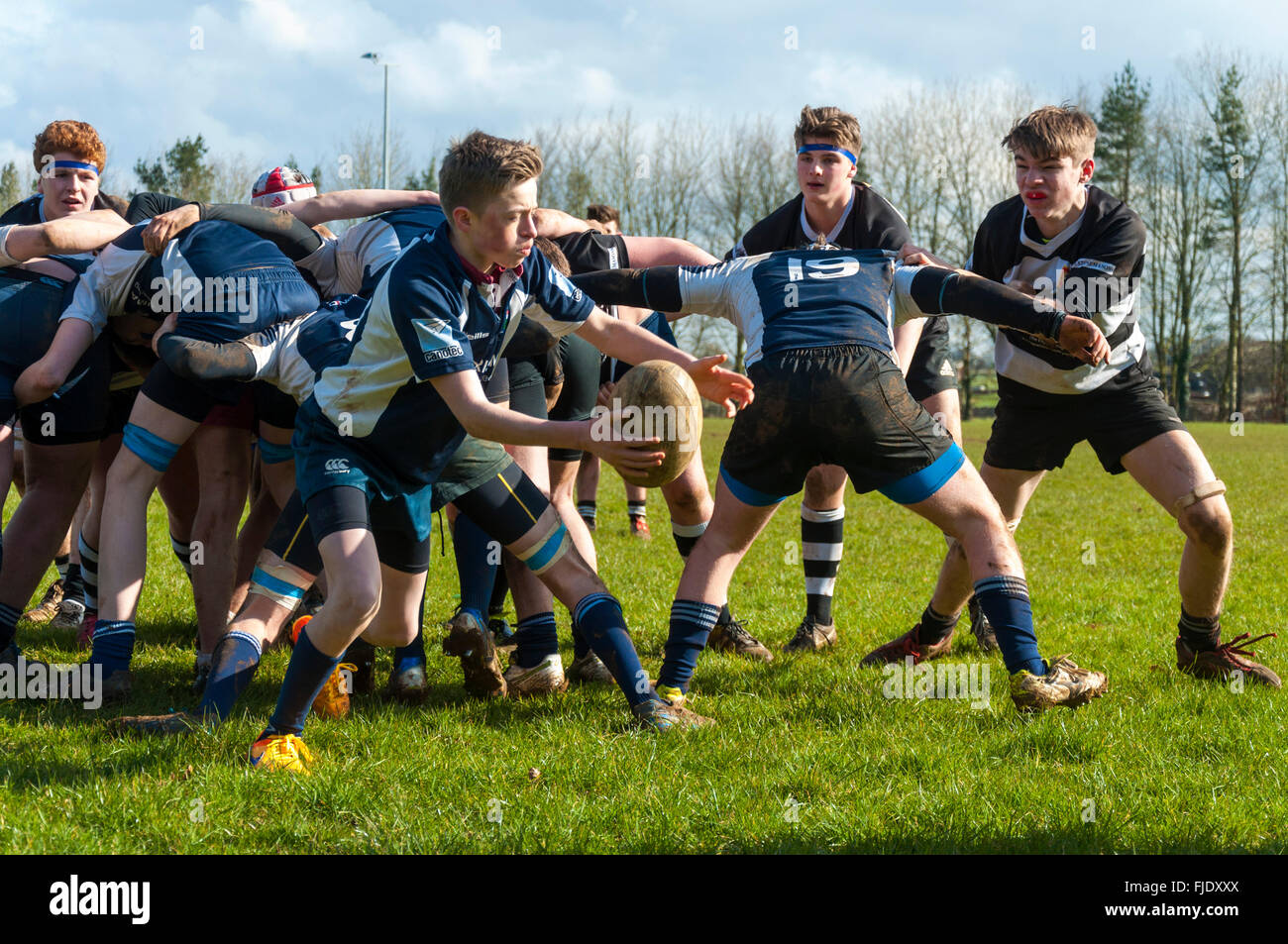 Under 16 age group rugby union match  between Walcot RFC and Avonvale RFC in Bath, UK - Stock Image