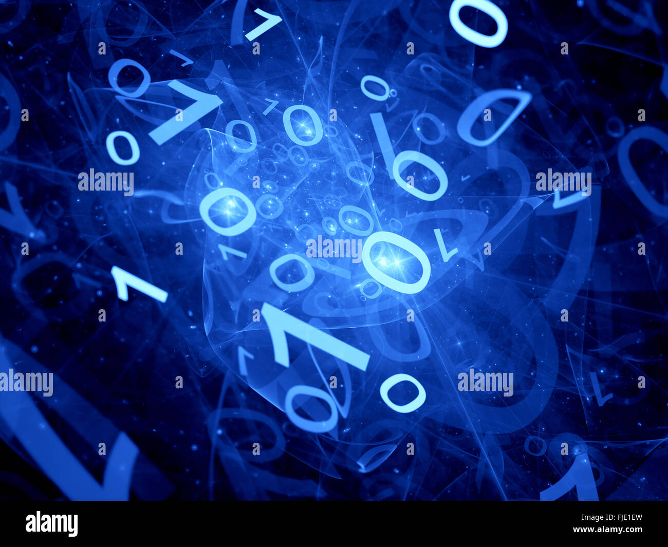 Big data glowing binary flow in space, computer generated abstract background - Stock Image