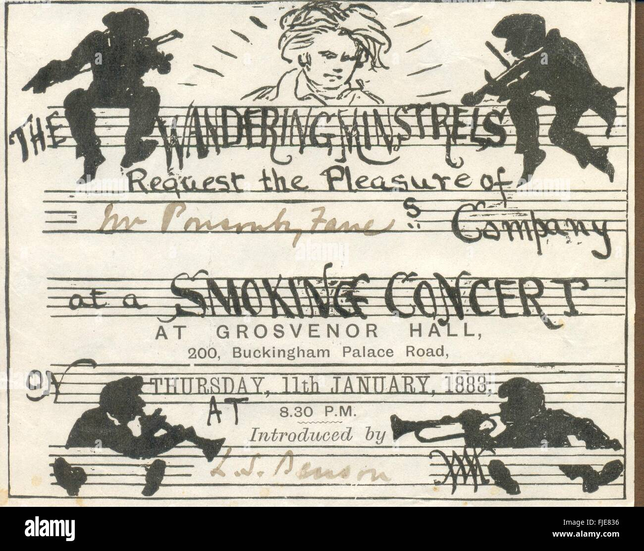 Invitation from The Wandering Minstrels to a Smoking Concertinvite - Stock Image