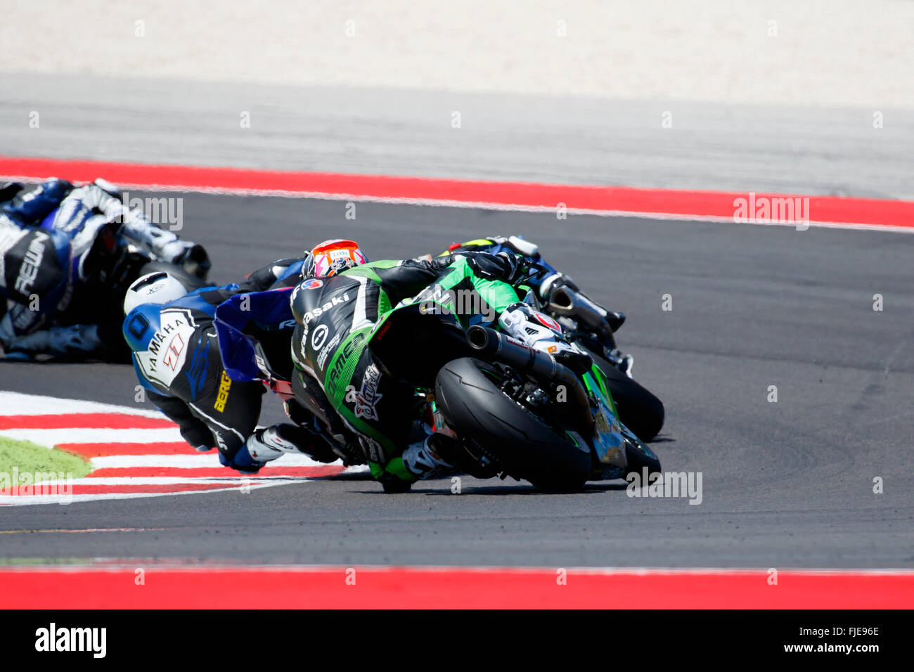 Misano Adriatico, Italy - June 21, 2015: Kawasaki ZX-10R of Team Pedercini, driven by STARING Bryan Stock Photo