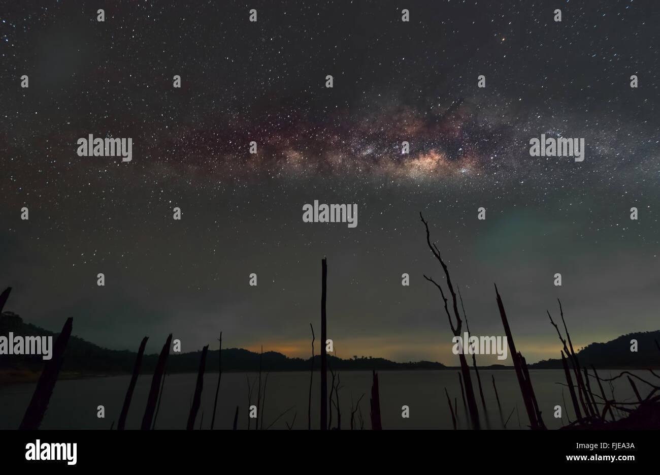 Milky way landscape - Stock Image