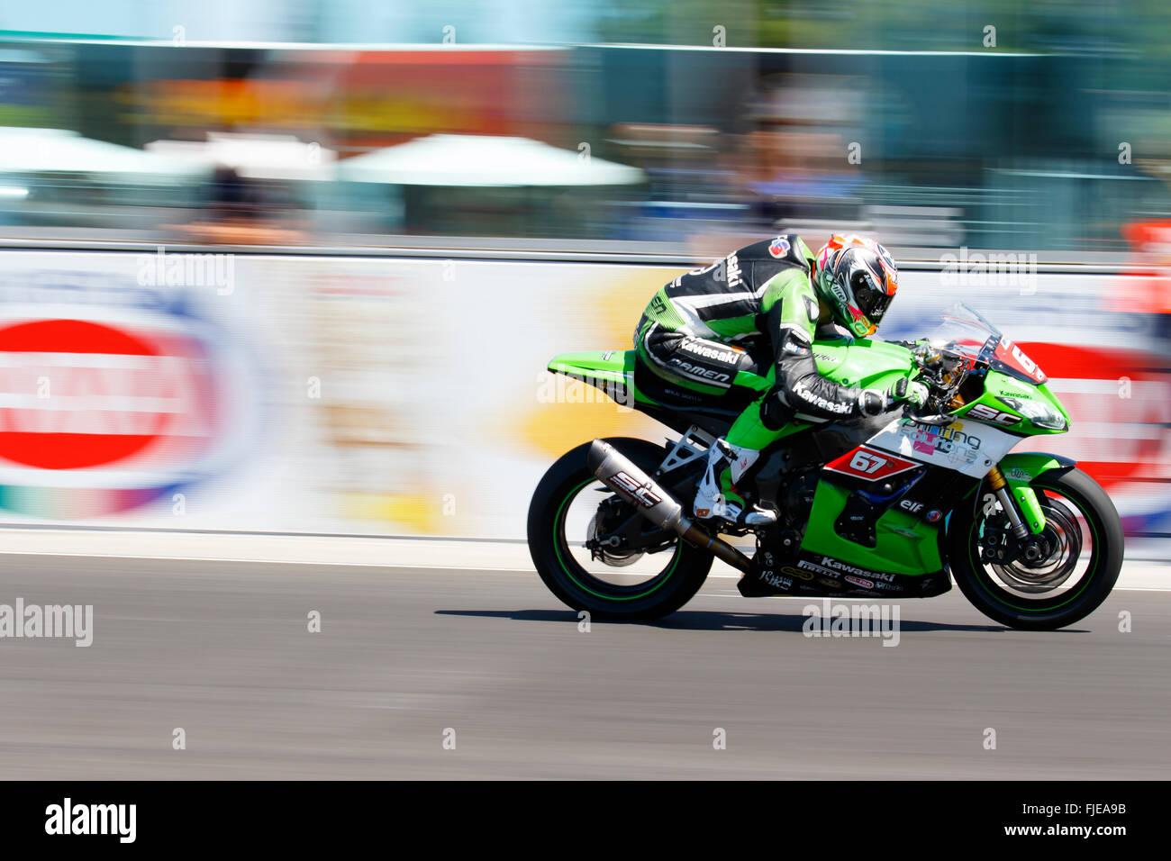 Misano Adriatico, Italy - June 21, 2015: Kawasaki ZX-10R of Team Pedercini, driven by STARING Bryan Stock Photo