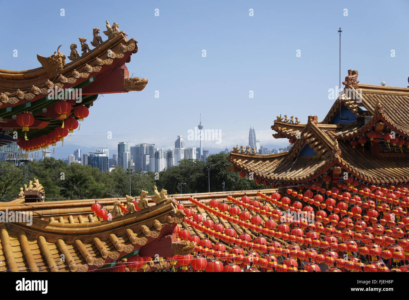 Kuala Lumpur skyline with KL Tower and Petronas Twin Towers, view from  Thean Hou temple - Stock Image