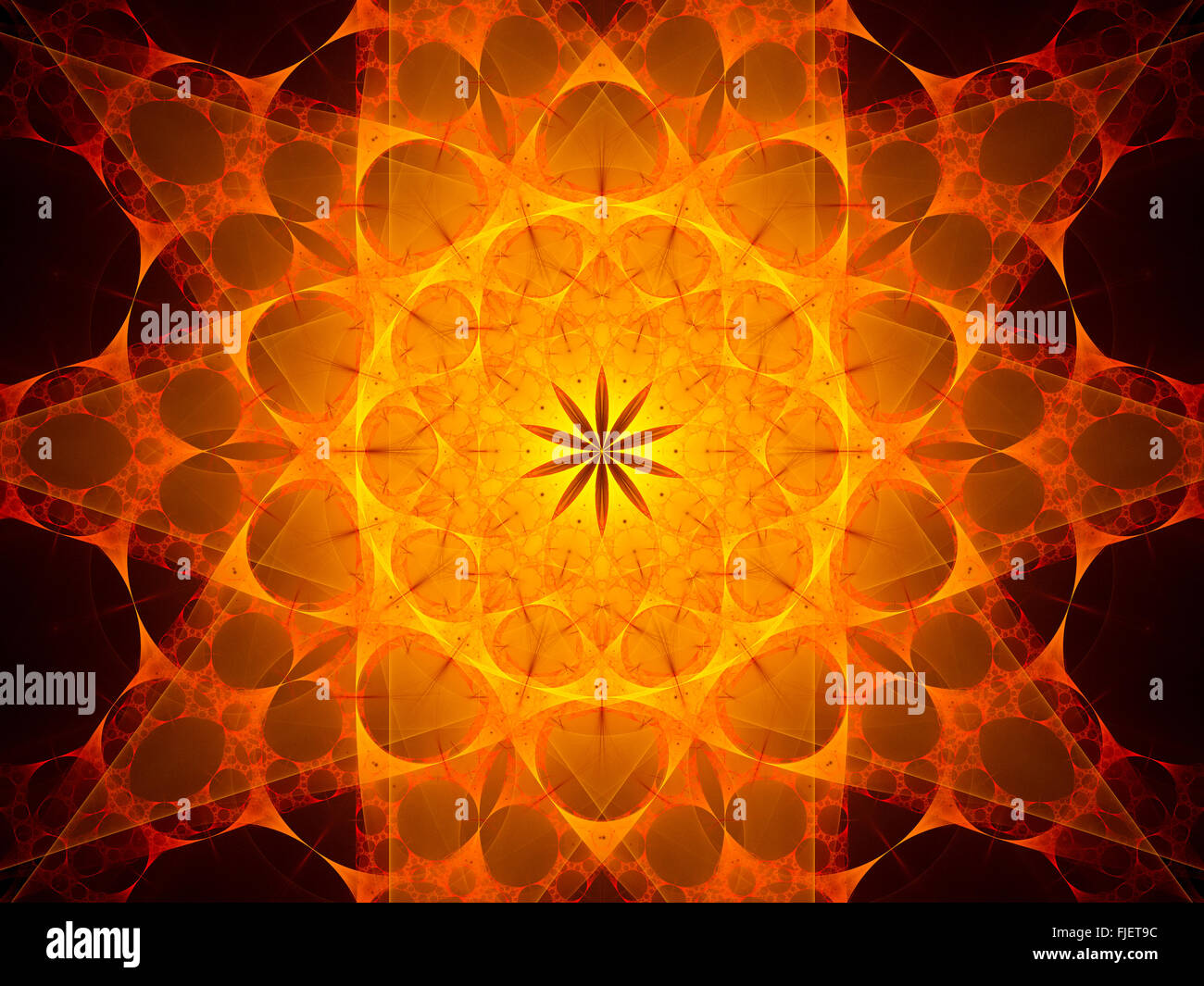 Fiery glowing mandala in space, computer generated abstract background Stock Photo